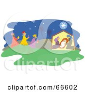 Royalty Free RF Clipart Illustration Of A Nativity Scene And The Star Of Bethlehem