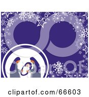 Royalty Free RF Clipart Illustration Of A Nativity Christmas Background With Snowflakes And Stars On Purple by Prawny