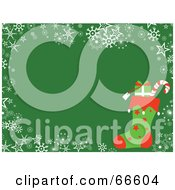 Royalty Free RF Clipart Illustration Of A Stocking Christmas Background With Snowflakes And Stars On Green