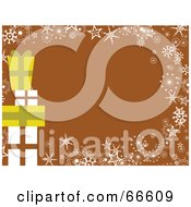 Royalty Free RF Clipart Illustration Of A Present Christmas Background With Snowflakes And Stars On Brown