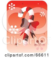 Royalty Free RF Clipart Illustration Of A Red Bow On A Candy Cane With Snowflakes