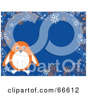 Penguin Christmas Background With Snowflakes And Stars On Blue