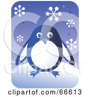 Retro Blue Penguin With Snowflakes