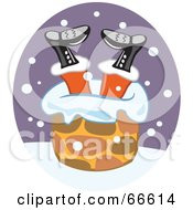 Royalty Free RF Clipart Illustration Of Santa Stuck Upside Down In A Chimney by Prawny