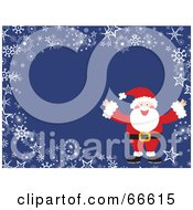 Royalty Free RF Clipart Illustration Of A Santa Christmas Background With Snowflakes And Stars On Blue