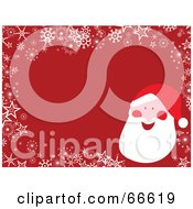 Royalty Free RF Clipart Illustration Of A Santa Christmas Background With Snowflakes And Stars On Red