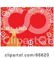 Royalty Free RF Clipart Illustration Of A Rudolph Christmas Background With Circles On Orange by Prawny