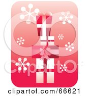 Royalty Free RF Clipart Illustration Of Retro Red And White Stacked Gifts On Pink With Snowflakes