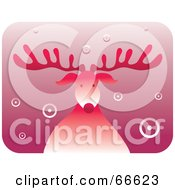 Royalty Free RF Clipart Illustration Of A Retro Red Rudolph The Red Nosed Reindeer With Circle Snow by Prawny