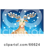 Royalty Free RF Clipart Illustration Of Rudolph The Red Nosed Reindeer Playing In The Snow by Prawny