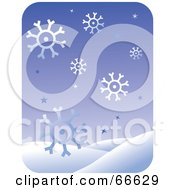 Royalty Free RF Clipart Illustration Of A Purple Snowflake And Snowy Hill Background by Prawny