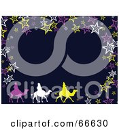 Royalty Free RF Clipart Illustration Of A Wise Men On Camels Christmas Background With Stars On Blue