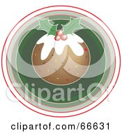 Royalty Free RF Clipart Illustration Of Christmas Pudding Over A Green Circle by Prawny