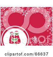 Royalty Free RF Clipart Illustration Of A Mr And Mrs Claus Christmas Background With Snowflakes And Stars On Pink by Prawny