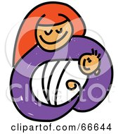 Royalty Free RF Clipart Illustration Of A Sketched Mary Holding Baby Jesus by Prawny