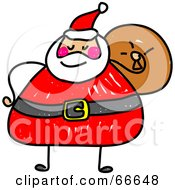 Royalty Free RF Clipart Illustration Of A Sketched Chubby Santa