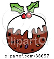 Royalty Free RF Clipart Illustration Of Sketched Christmas Pudding by Prawny