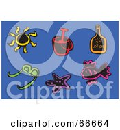 Colorful Beach Icons On Blue Sun Pail Lotion Sunglasses Starfish And Fish