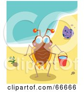 Royalty Free RF Clipart Illustration Of A Happy Playing Bug On The Beach by Prawny