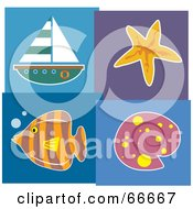Seaside Collage Of A Sailboat Starfish Fish And Shell