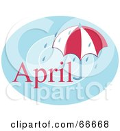 Royalty Free RF Clipart Illustration Of A Month Of April Umbrella And Rain by Prawny