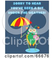 Royalty Free RF Clipart Illustration Of A Green Bug Holding An Umbrella With Sorry To Hear Youve Been A Bit Under The Weather Text by Prawny