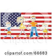 Royalty Free RF Clipart Illustration Of A Happy American Family Over A Flag by Prawny