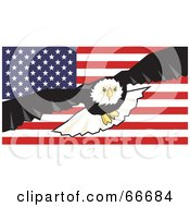 Royalty Free RF Clipart Illustration Of A Majestic Bald Eagle In Flight Over An American Flag by Prawny