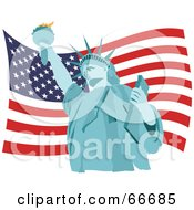 Royalty Free RF Clipart Illustration Of A Blue Statue Of Liberty Over An American Flag