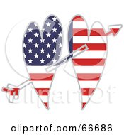 Royalty Free RF Clipart Illustration Of Two American Hearts On An Arrow