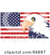 Royalty Free RF Clipart Illustration Of A Majestic Bald Eagle And American Flag by Prawny