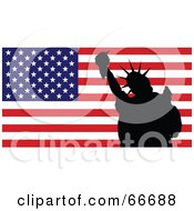 Royalty Free RF Clipart Illustration Of A Silhouetted Statue Of Liberty In Front Of An American Flag by Prawny