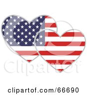 Royalty Free RF Clipart Illustration Of Two American Hearts by Prawny