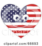 Royalty Free RF Clipart Illustration Of A Happy American Heart