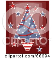Royalty Free RF Clipart Illustration Of A Patriotic Christmas Tree With Stars And Garlands On Red