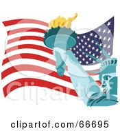 Royalty Free RF Clipart Illustration Of A Statue Of Liberty Holding Her Torch Over An American Flag by Prawny