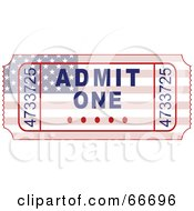 Royalty Free RF Clipart Illustration Of An American Admit One Ticket by Prawny