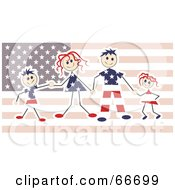 Royalty Free RF Clipart Illustration Of A Happy American Family Over A Flag