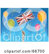 Royalty Free RF Clipart Illustration Of A Hand Holding A Union Jack Flag Around Balloons Over Blue
