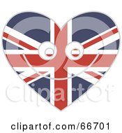Royalty Free RF Clipart Illustration Of A Smiling Union Jack Heart