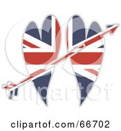 Royalty Free RF Clipart Illustration Of An Arrow Through Two Union Jack Hearts