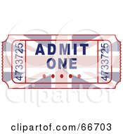 Royalty Free RF Clipart Illustration Of A Union Jack Admit One Ticket