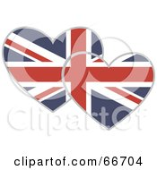 Royalty Free RF Clipart Illustration Of Two Union Jack Hearts by Prawny