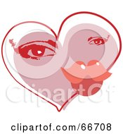 Royalty Free RF Clipart Illustration Of A Valentine Heart With A Womans Eyes And Lip Pucker by Prawny