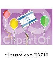 Royalty Free RF Clipart Illustration Of A Hand Holding An Israeli Flag Around Balloons On Purple by Prawny