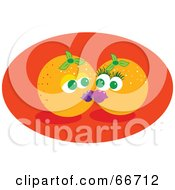 Royalty Free RF Clipart Illustration Of Two Smooching Oranges On An Orange Oval