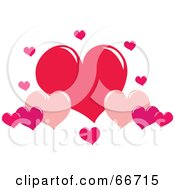 Royalty Free RF Clipart Illustration Of Red And Pink Heart Clouds by Prawny
