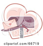 Royalty Free RF Clipart Illustration Of A Love Letter In A Purple Mail Box Over A Heart