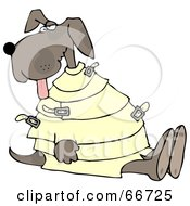 Royalty Free RF Clipart Illustration Of A Crazy Dog In A Straight Jacket