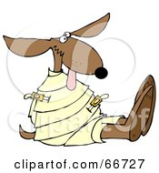 Royalty Free RF Clipart Illustration Of A Loony Dog In A Straight Jacket